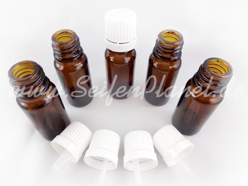 5 Braunglasflaschen mit Tropfeinsatz, 10 ml » 3,49€ » SeifenPlanet-Onlineshop