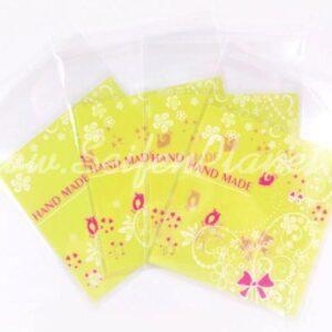 Selbstklebende Folientüte Hand Made gelb, 4-er Set
