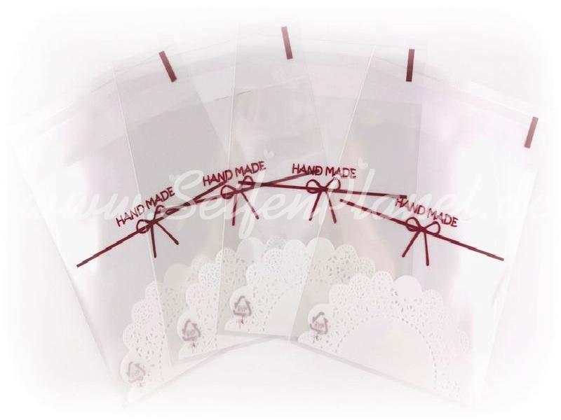 Selbstklebende Folientüte Hand Made klein, 4-er Set » 0,75€ » SeifenPlanet-Onlineshop