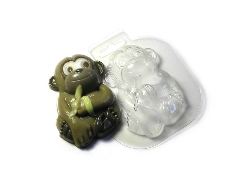 Seifengießform Affe mit Banane » 2,49€ » SeifenPlanet-Onlineshop